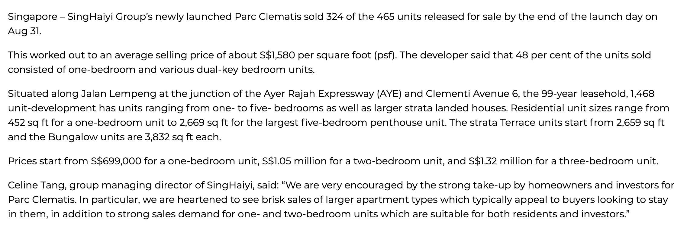 Singhaiyi sells 324 units of Parc Clematis on launch day